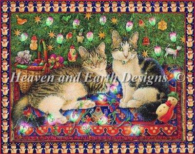 画像1: クロスステッチ図案 Truffle and Fudge With Christmas Lights-Heaven and Earth Designs(HAED) (1)