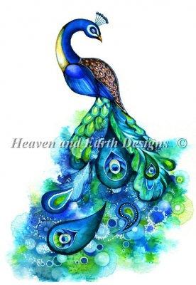 画像1: クロスステッチ キット Peacock Fantasy AK 28ctルガナ- HAED キット(Heanen and Earth Designs) (1)