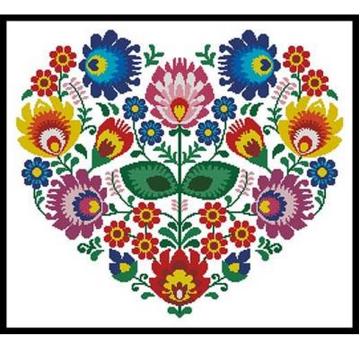 画像1: Artecy  図案(チャート) - Holidays (Valentine's Day) - Polish Folk Heart (1)