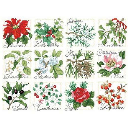 画像1: Kooler Design Studio  図案(チャート) - Holidays (Christmas) - Christmas Botanical Ornaments (1)