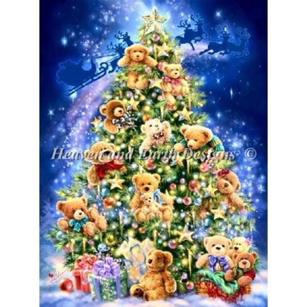 画像1: クロスステッチ キットMini Teddy Bear Tree 25ct -HAED(Heaven And Earth Designs)  (1)