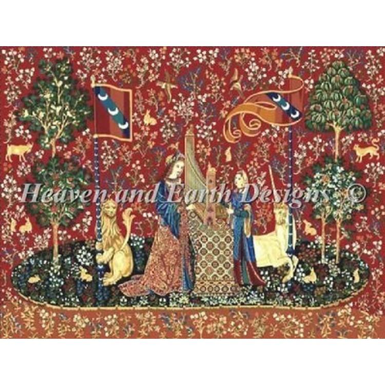画像1: クロスステッチ キットThe Lady and the Unicorn - Hearing-HAED(Heaven And Earth Designs) (1)