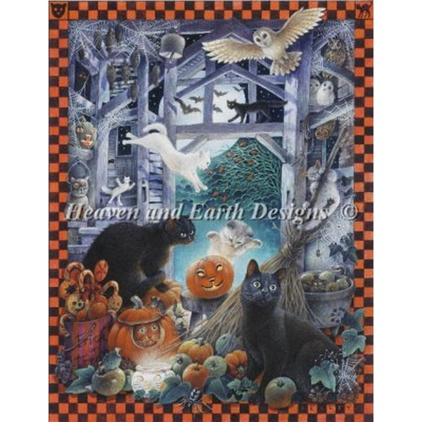 画像1: HAED(Heaven And Earth Designs) - Mini Lesleys Cats At Halloween クロスステッチ キット (1)