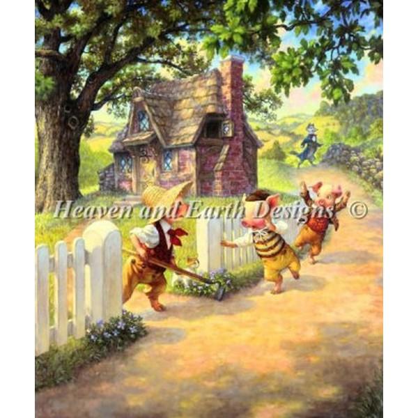 画像1: クロスステッチ刺繍キットMini The Three Little Pigs-Heaven And Earth Designs(HAED) 20ctベラーナ  (1)