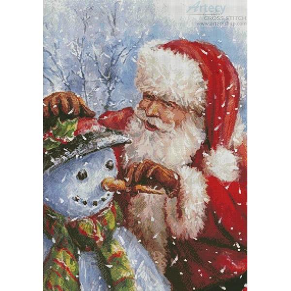 画像1: クロスステッチキット18ct Santa with Snowman-Artecy  (1)