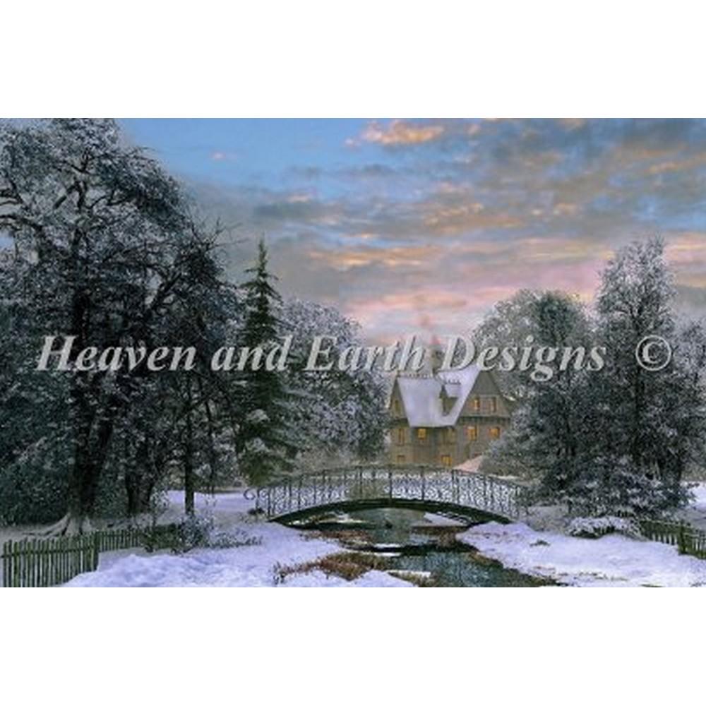 画像1: HAED(Heaven and Earth Designs)-Snow Scene Sunset クロスステッチ図案 (1)