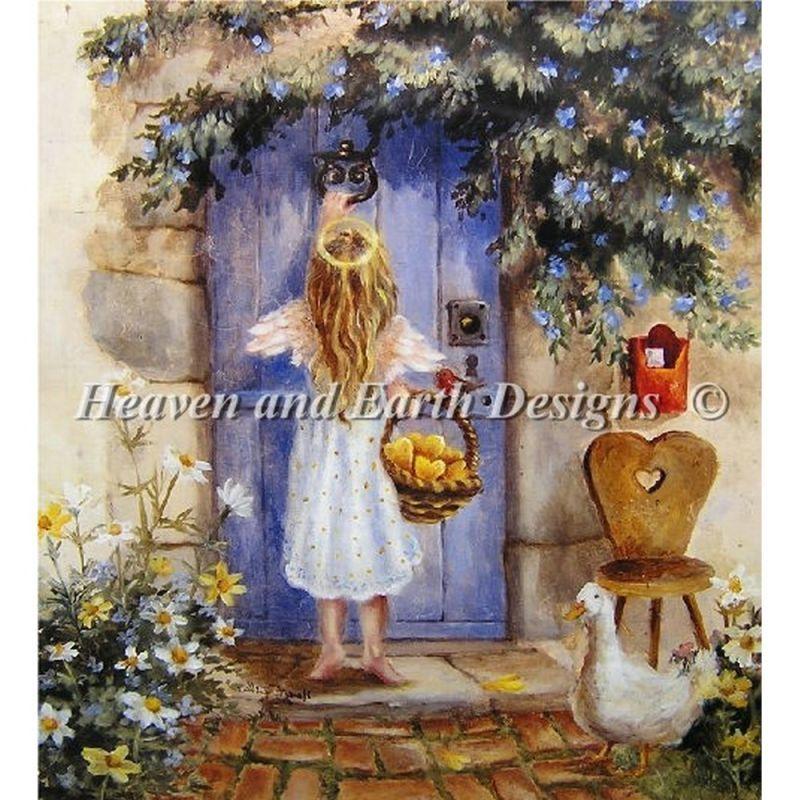 画像1: クロスステッチ キットMini Angel At The Door-HAED(Heaven And Earth Designs)  (1)