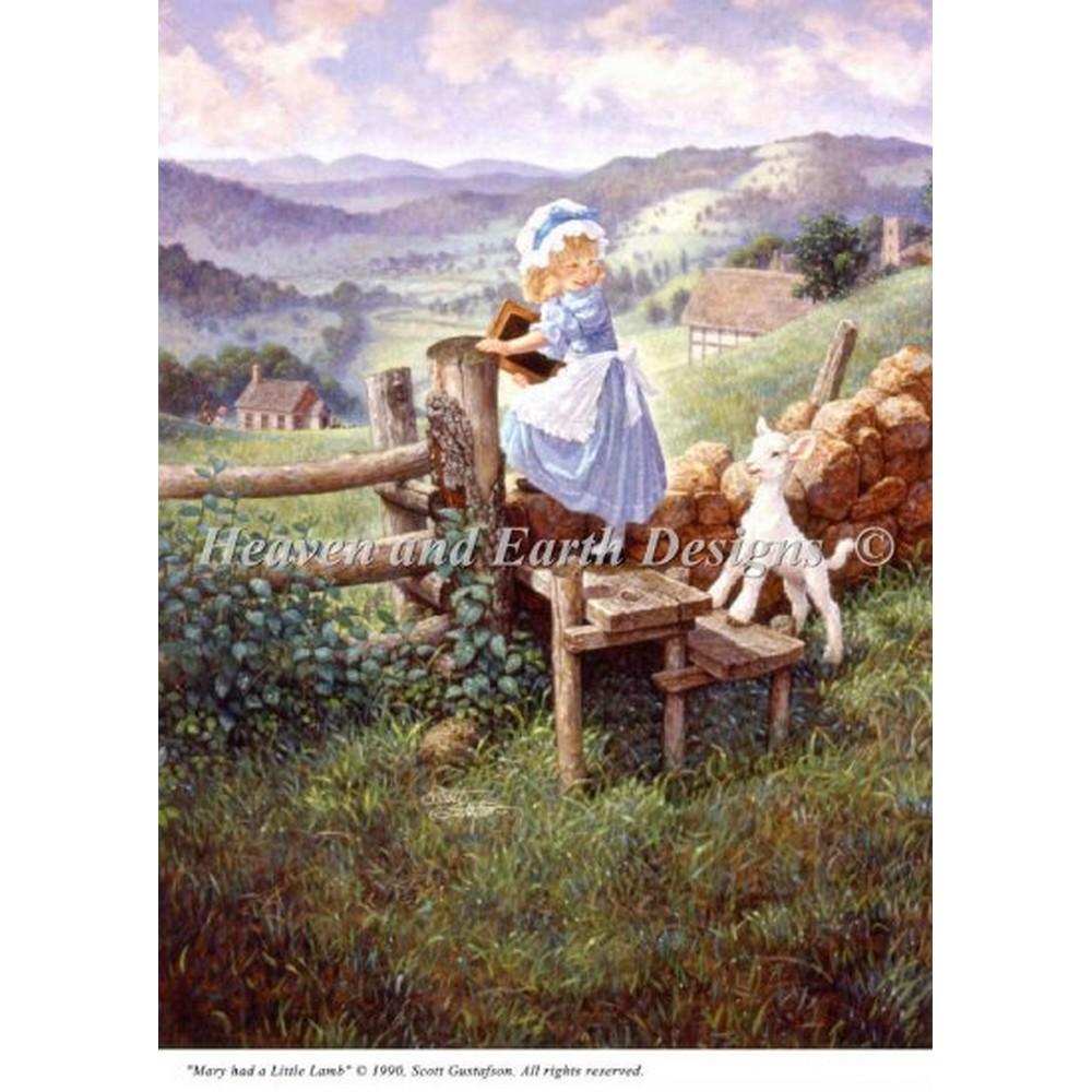 画像1: クロスステッチ キットMini Mary Had A Little Lamb-HAED(Heaven And Earth Designs)  (1)