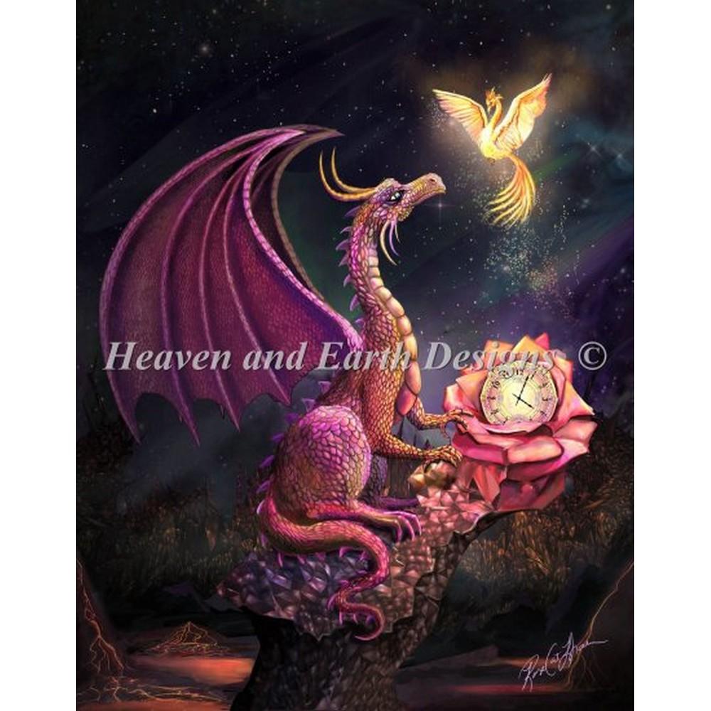 画像1: HAED(Heaven And Earth Designs) -Mini Time Dragon Scarlet Roseクロスステッチ キット (1)