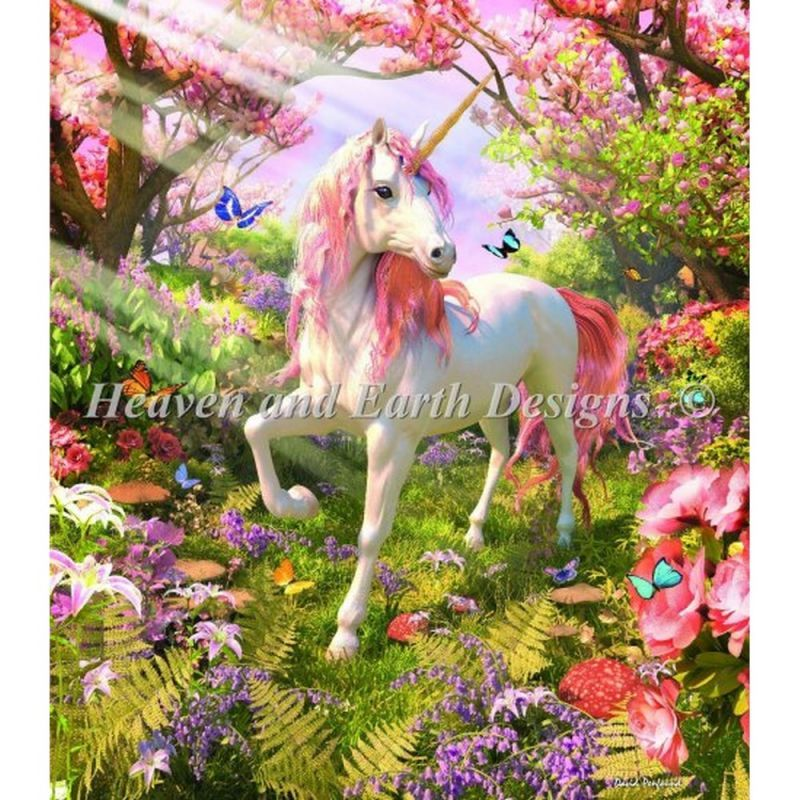 画像1: HAED(Heaven and Earth Designs)クロスステッチ図案(チャート)-Mini Unicorn Spring (1)