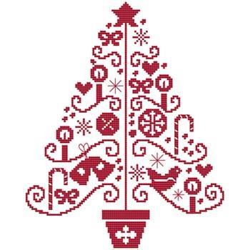 画像1: クロスステッチ図案(チャート)Cross Stitch Wonders - Folk Art Tree One (1)