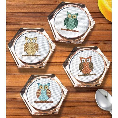 画像1: Janlynn - Owl Hexagon Coaster Set  クロスステッチ コースターキット 4個セット (1)