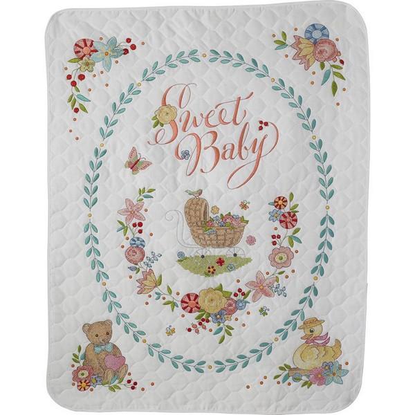 画像1: クロスステッチ刺繍キット Bucilla-ベビーベッドカバー-Sweet Baby Crib Cover Stamped  (1)