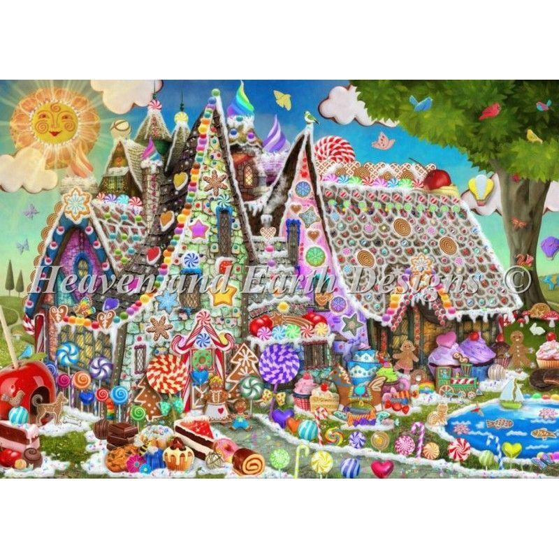 画像1: クロスステッチ図案 Mini Gingerbread Manor-HAED(Heaven and Earth Designs) (1)