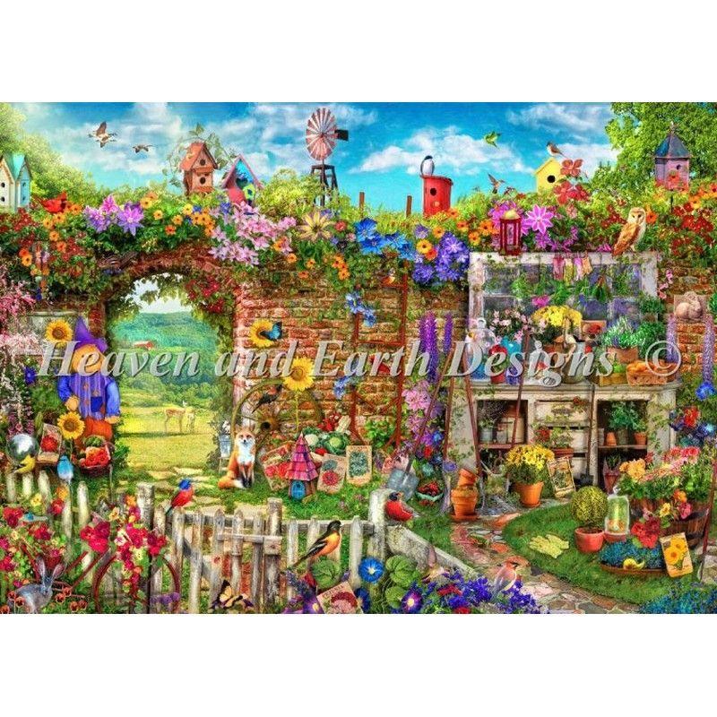 画像1: クロスステッチ キットMini Garden Gate-HAED(Heaven and Earth Designs) (1)