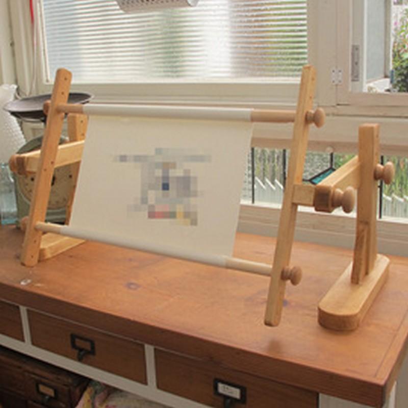 画像1: 卓上用スクロールフレーム 50cm 家具屋さんが作ったクロスステッチ刺繍枠 (1)