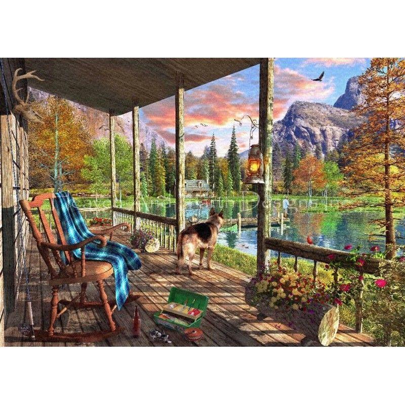 画像1: クロスステッチ図案 Mini Mount Cabin Home-HAED(Heaven and Earth Designs) (1)