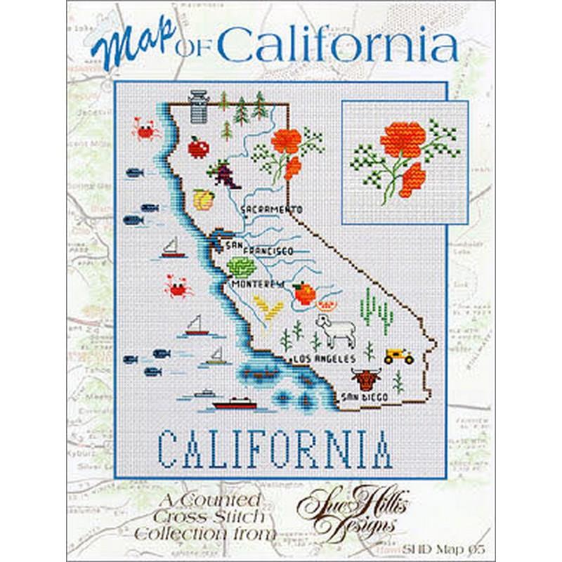 画像1: クロスステッチ図案 California Map-Sue Hillis Designs (1)