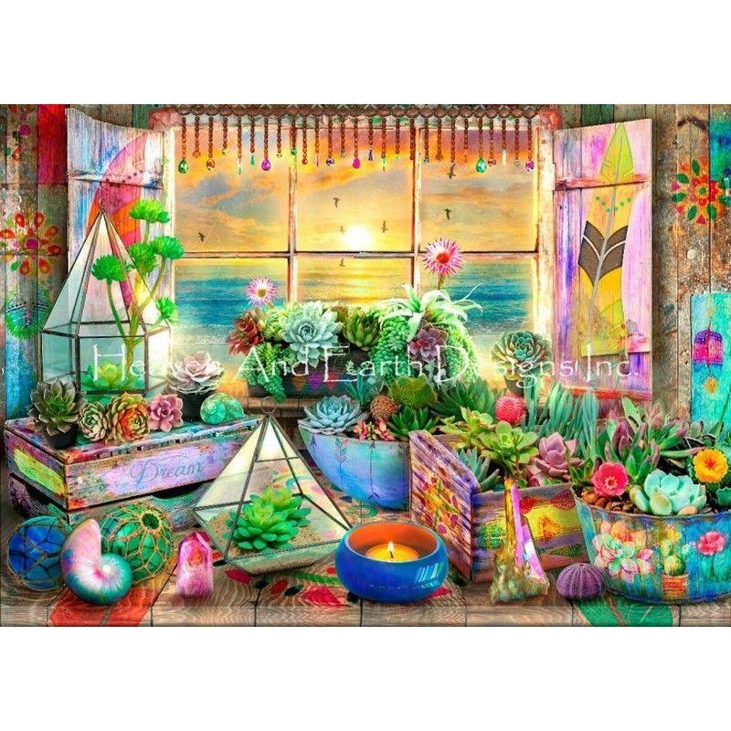 画像1: クロスステッチ キット 25ctルガナ [布+糸キット、図案無し]Supersized Boho Seaside View Max Colors -HAED(Heaven and Earth Designs) (1)