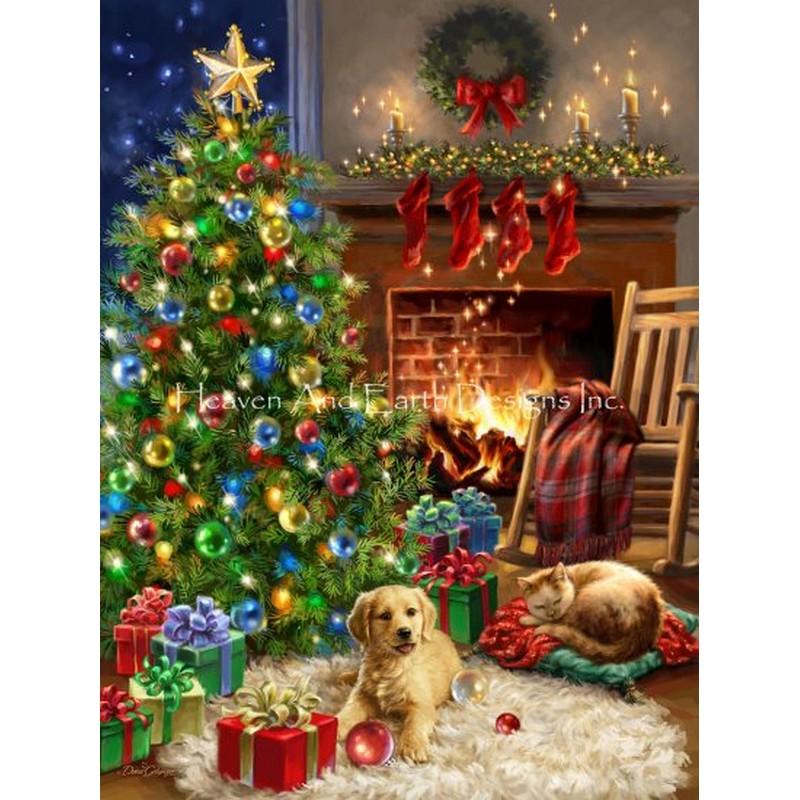 画像1: クロスステッチ キット25ctルガナ -Cozy Christmas DG-HAED(Heaven and Earth Designs) (1)