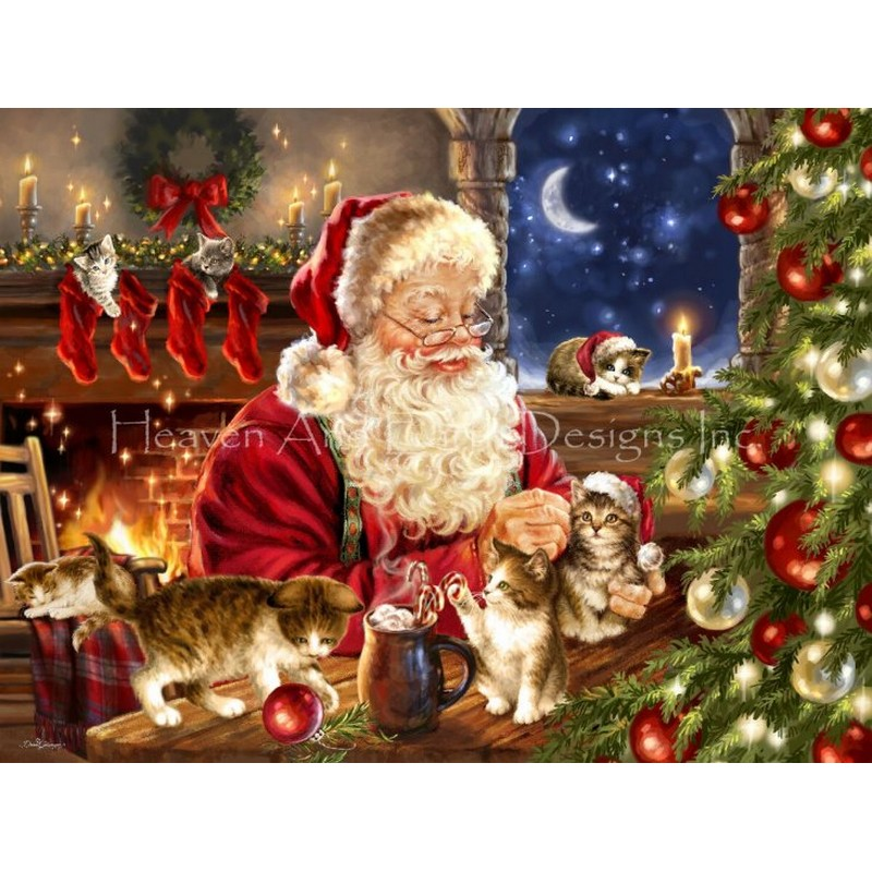 画像1: クロスステッチ キット 28ct Supersized Kitten Christmas Max Colors -HAED(Heaven and Earth Designs) (1)