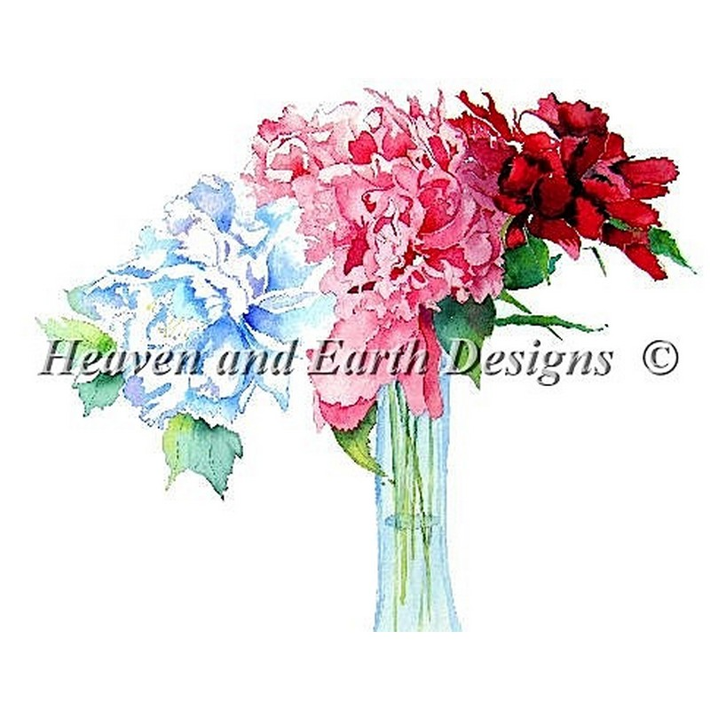 画像1: クロスステッチ図案Peonies-HAED(Heaven and Earth Designs) (1)