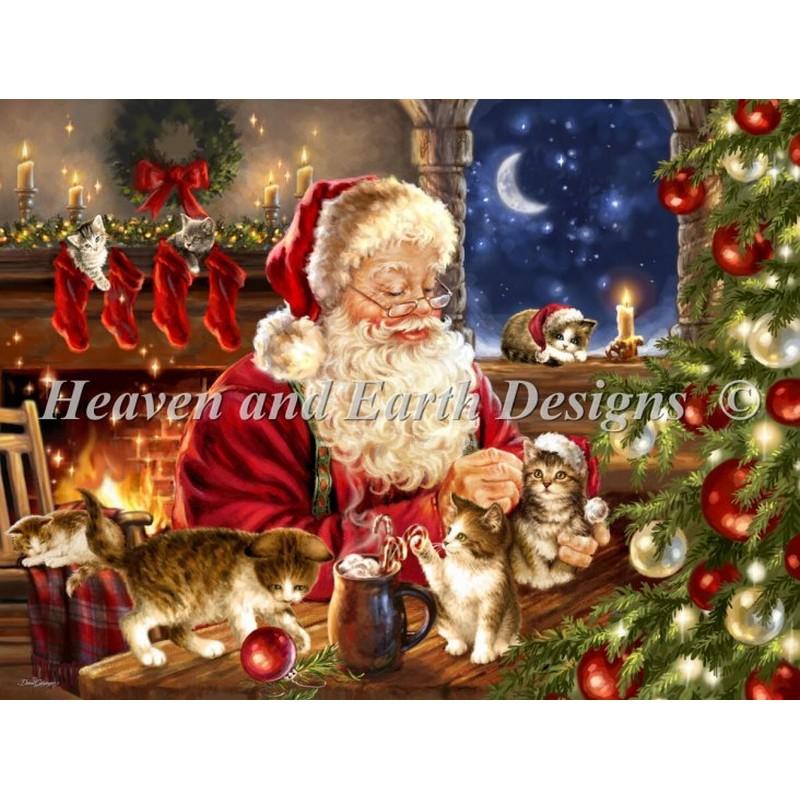 画像1: クロスステッチ図案Kitten Christmas-HAED(Heaven and Earth Designs) (1)