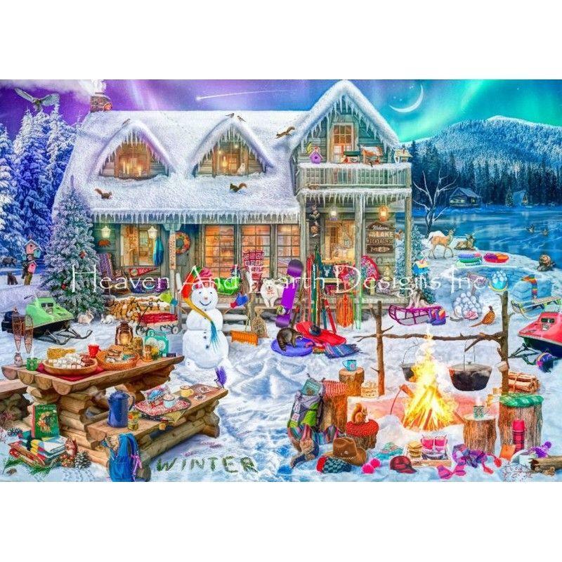 画像1: クロスステッチ図案Supersized Family Winter Cabin Max Colors-HAED(Heaven and Earth Designs) (1)