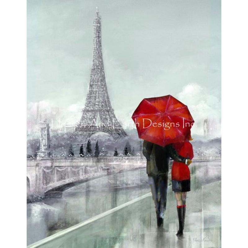 画像1: クロスステッチ図案Modern Couple In Paris-HAED(Heaven and Earth Designs) (1)