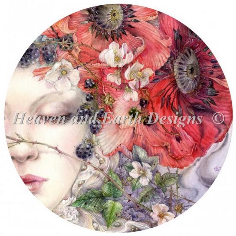 画像1: クロスステッチ図案She Sleeps Max Color-HAED(Heaven and Earth Designs) (1)