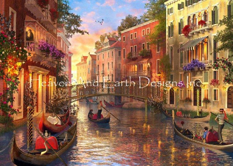画像1: クロスステッチ キット25ctルガナ Mini Sunset In Venice-HAED(Heaven and Earth Designs) (1)