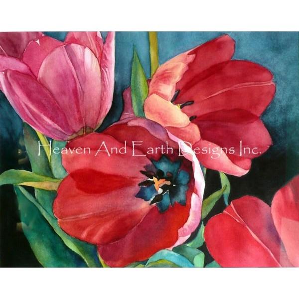 画像1: クロスステッチ図案 Mini 3 Red Tulips-HAED(Heaven and Earth Designs) (1)