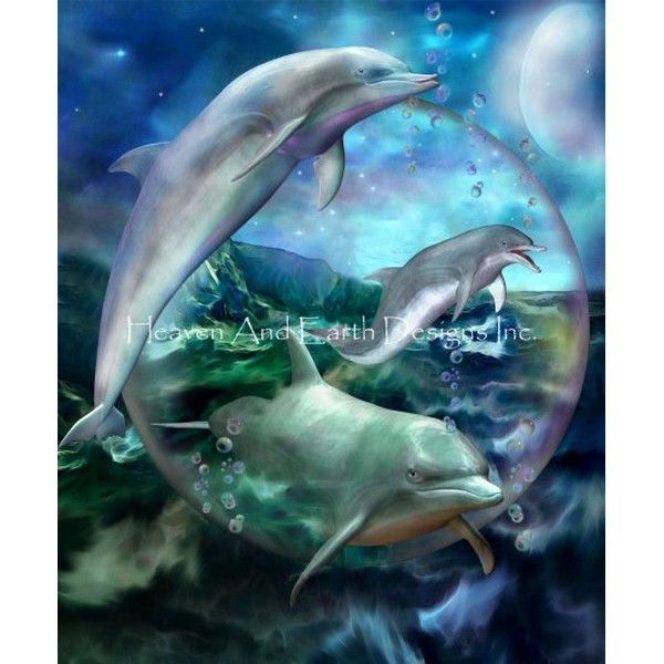 画像1: クロスステッチ図案Three Dolphins-HAED(Heaven and Earth Designs) (1)