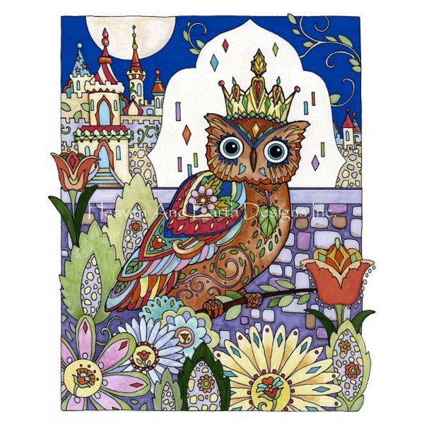 画像1: クロスステッチ図案Owl King-HAED(Heaven and Earth Designs) (1)