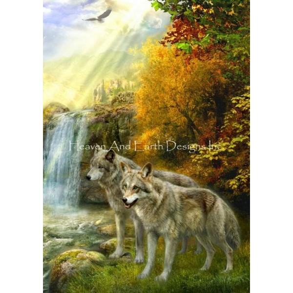 画像1: クロスステッチ図案Wolf Falls-HAED(Heaven and Earth Designs) (1)