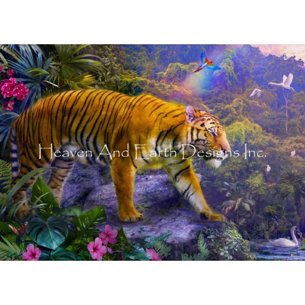 画像1: クロスステッチ図案Rainbow Tiger-HAED(Heaven and Earth Designs) (1)