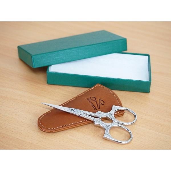 画像1: Premax (プレマックス)刺繍鋏シルバー 模様入り キャメル色革ケース付箱入りイタリア製  (1)