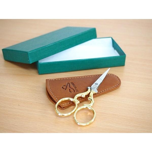 画像1: Premax (プレマックス)刺繍鋏 ゴールド ハート キャメル色革ケース付箱入りイタリア製  (1)