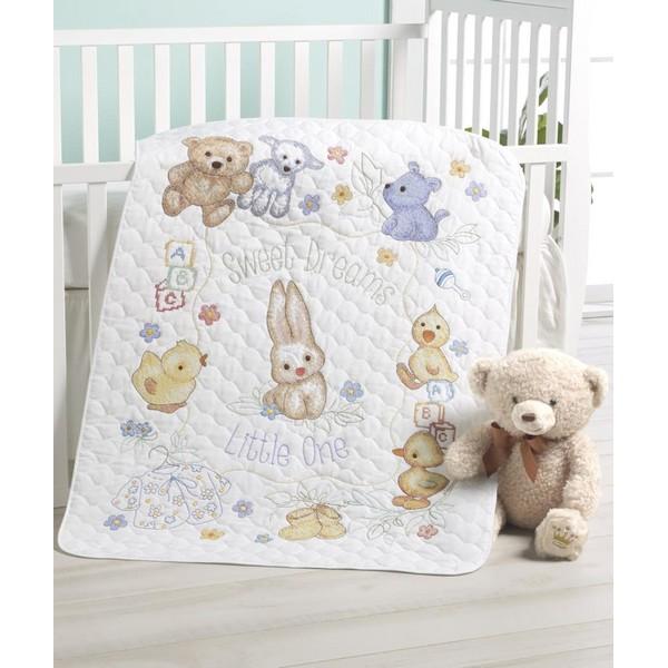 画像1: クロスステッチ刺繍キットHallmark Handcrafted Playful Pals Crib Cover-Bucillaベビーベッドカバー (1)