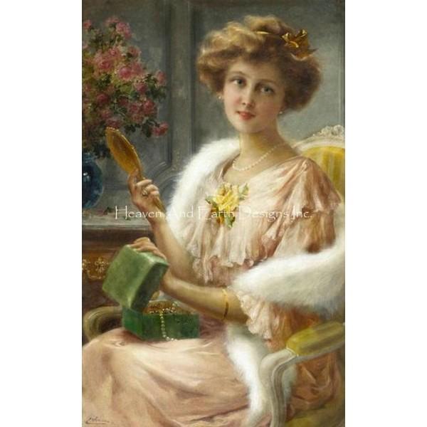 画像1: クロスステッチ図案Young Lady With Mirror-HAED(Heaven and Earth Designs) (1)