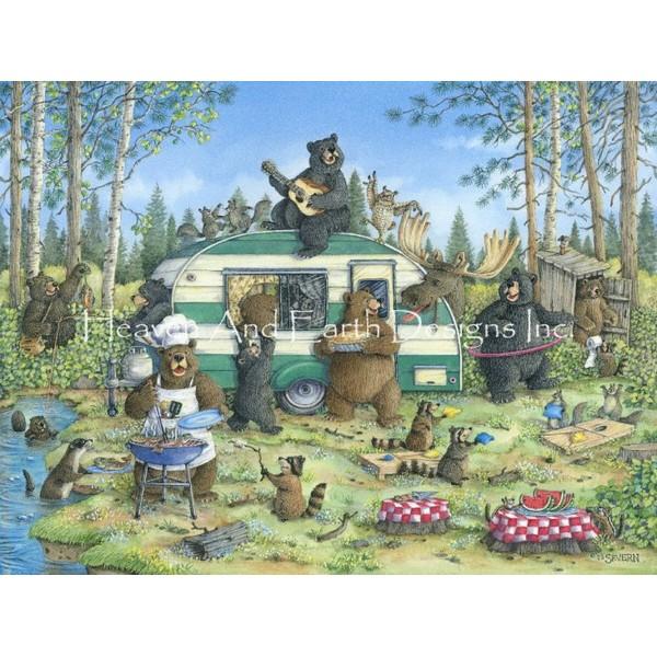 画像1: クロスステッチ図案Happy Campers-HAED(Heaven and Earth Designs) (1)