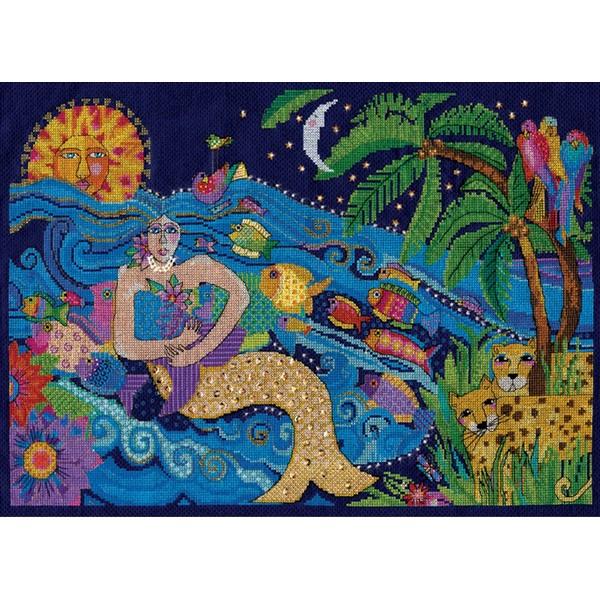 画像1: クロスステッチ キット Laurel Burch Mermaid-Design Works  (1)