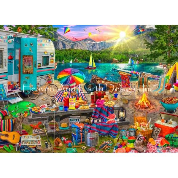 画像1: クロスステッチ図案Supersized The Family Campsite Max Colors-HAED(Heaven and Earth Designs) (1)