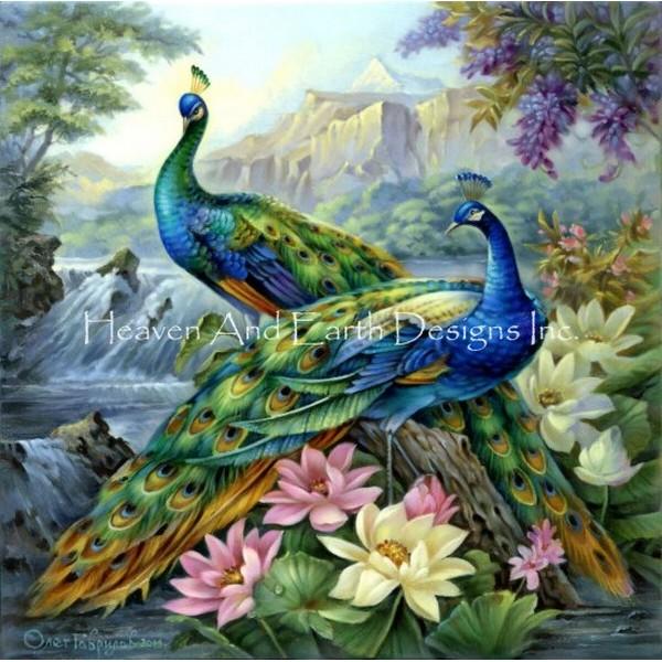 画像1: クロスステッチ キット2 Dancing Peacocks 25ctルガナ -HAED(Heaven and Earth Designs) (1)