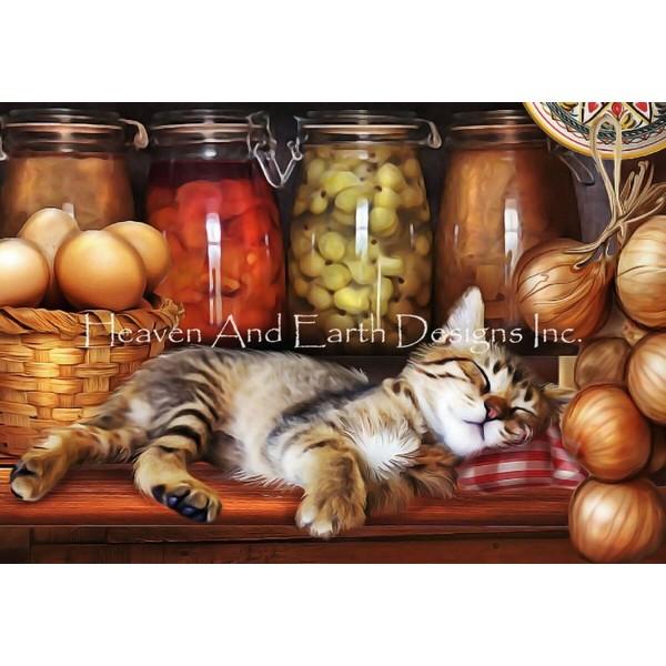 画像1: クロスステッチ図案 QS Ye Old Kitchen Kitten Max Colors-HAED(Heaven and Earth Designs) (1)