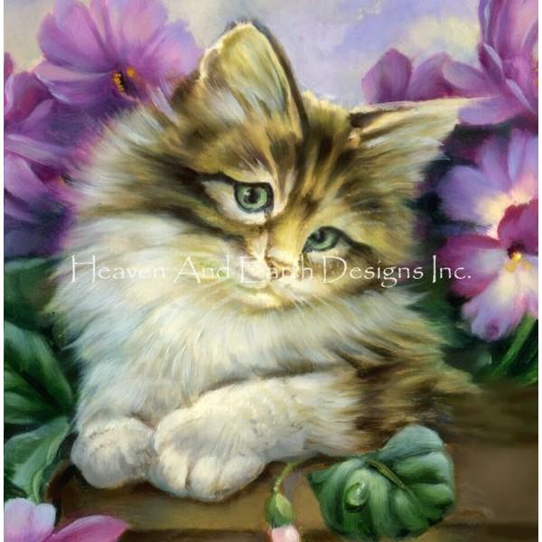 画像1: クロスステッチ キットCute Kitty 25ctルガナ -HAED(Heaven and Earth Designs) (1)