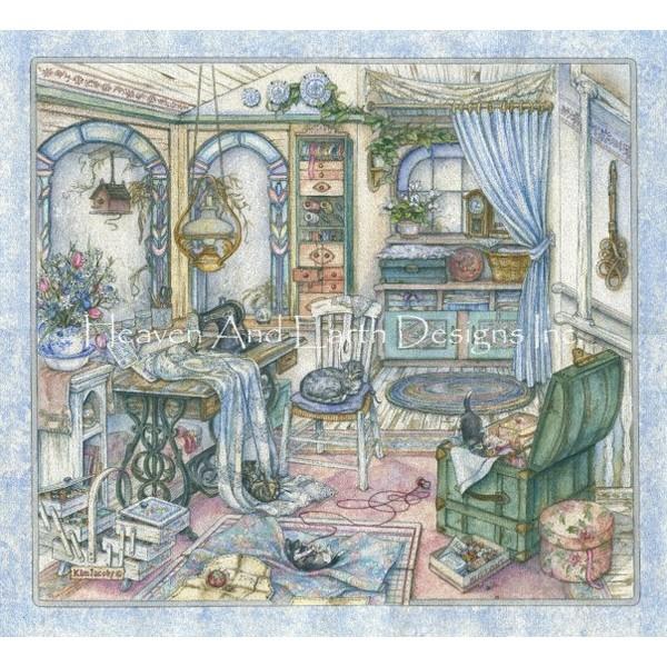 画像1: クロスステッチ図案Sewing Room Pumped-HAED(Heaven and Earth Designs) (1)