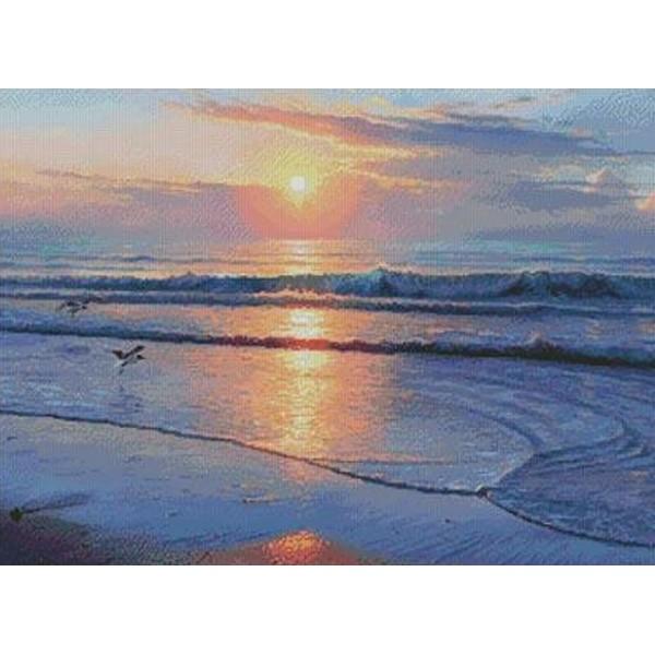 画像1: クロスステッチキットSerenity Beach(14ctアイーダ)-Artecy (1)