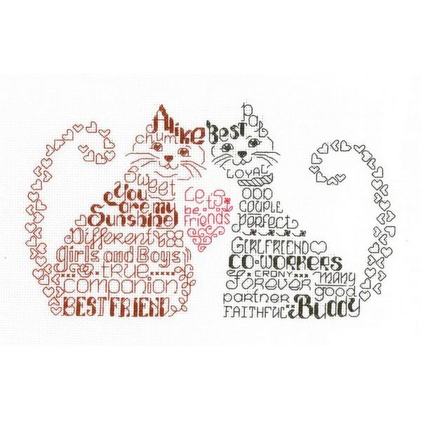 画像1: クロスステッチキット Let's Be Friends-Imaginating 14ctアイーダ 猫 (1)