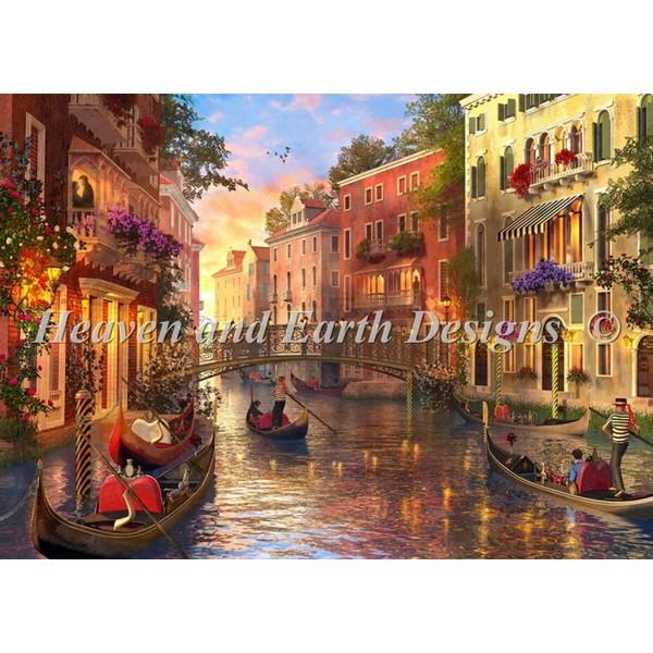 画像1: クロスステッチ キットSunset In Venice 25ctルガナ -HAED(Heaven and Earth Designs) (1)